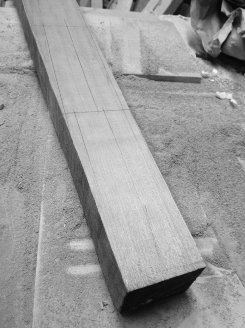 Rails marked for sawing