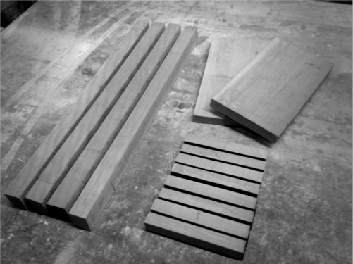 Table legs, rails, and top, roughly sawn