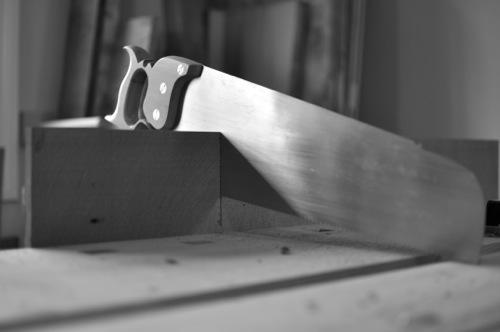 Cutting an oak board to length